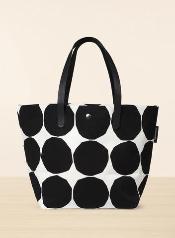 MARIMEKKO PIENET KIVET MARIT BAG BLACK, WHITE  #stones #marimekko #bag #purse #leather #canvas #cotton #spots #dots #polkadots #pirkkoseattle #pirkkofinland