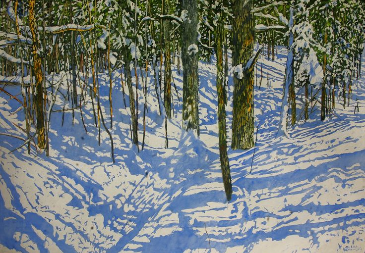"""clear winters day full of shifting impressions & quietly random strips of sunlight 32"""" x 48"""" micheal zarowsky / Mixed media (watercolour / acrylic painted directly on gessoed birch panel)  Available $3200.00"""