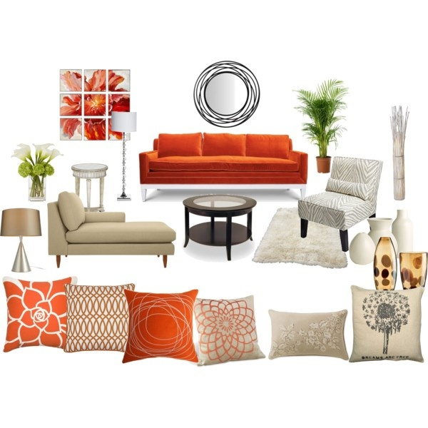 Orange And Cream Living Room Created By Sheryl Dawson For Home Pinterest Room Set Colors
