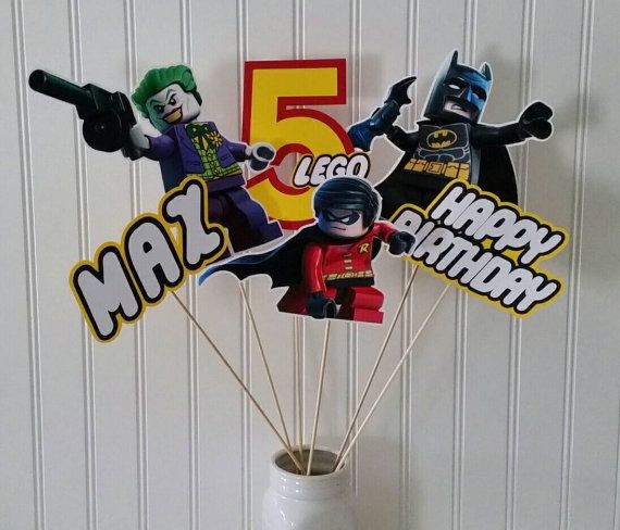 Lego Batman Robin Party Centerpiece Picks lego by PaperedAffair