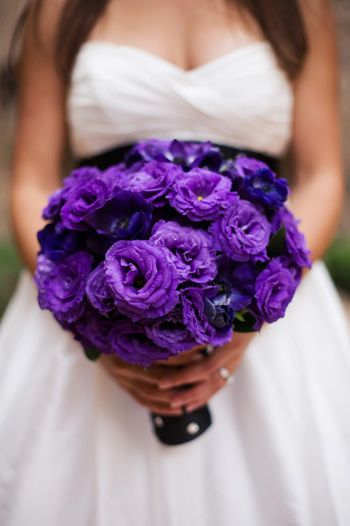 An all purple bouquet.  This looks like purple ranunculus, but I didn't know it came in that color, so either I've identified the flower wrong or I just learned something new!