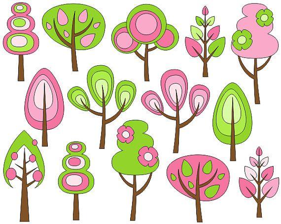Retro Trees Clip Art Spring Trees Digital Clip Art by YarkoDesign