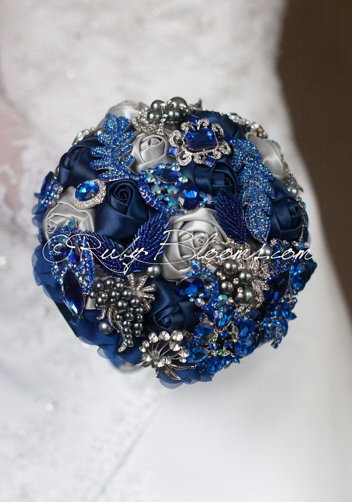 """Silver Grey, Royal Blue Wedding Brooch Bouquet. """"Royal Blue"""" Navy Blue Wedding Bouquet. Jewelry Bridal Broach Bouquet by Ruby Blooms Wedding by Rubybloomscom on Etsy https://www.etsy.com/listing/184342933/silver-grey-royal-blue-wedding-brooch"""