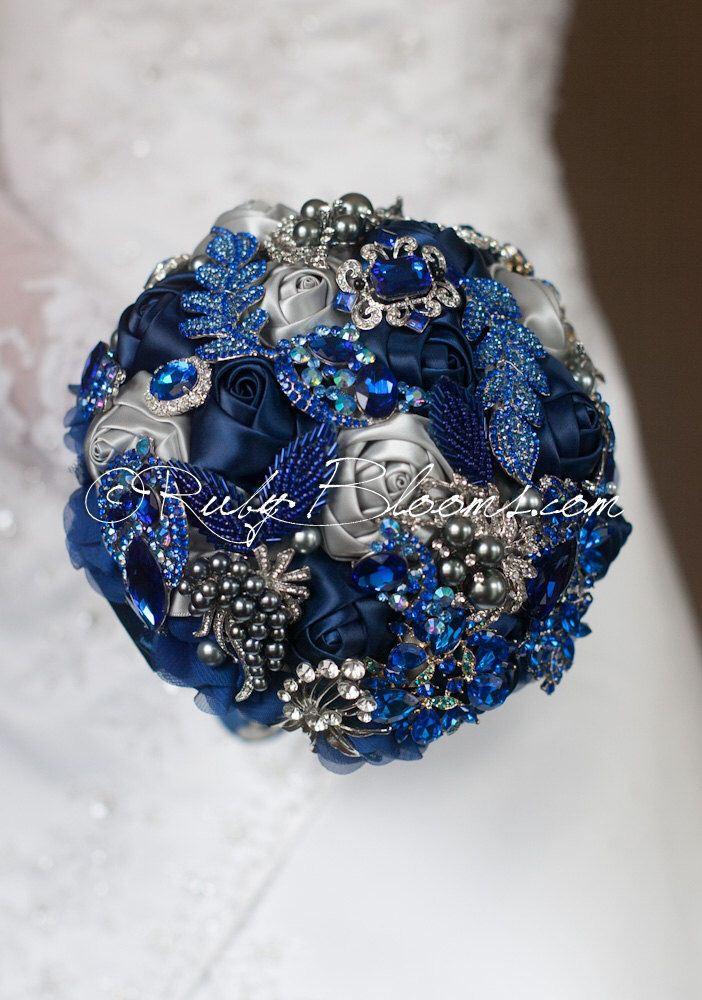 silver grey royal blue wedding brooch bouquet royal blue navy blue wedding bouquet jewelry. Black Bedroom Furniture Sets. Home Design Ideas