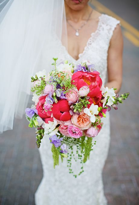 Brides: Pink Bouquet of Peonies and Ranunculuses Bouquet of coral charm peonies, ranunculuses, Juliet garden roses, snapdragons, freesias, Queen Anne's lace, sweet peas, and amaranthus, from $200-$250 (based on seasonal availability),