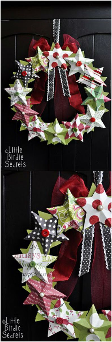 Christmas ● DIY ● Tutorial ● 3-D paper star wreath