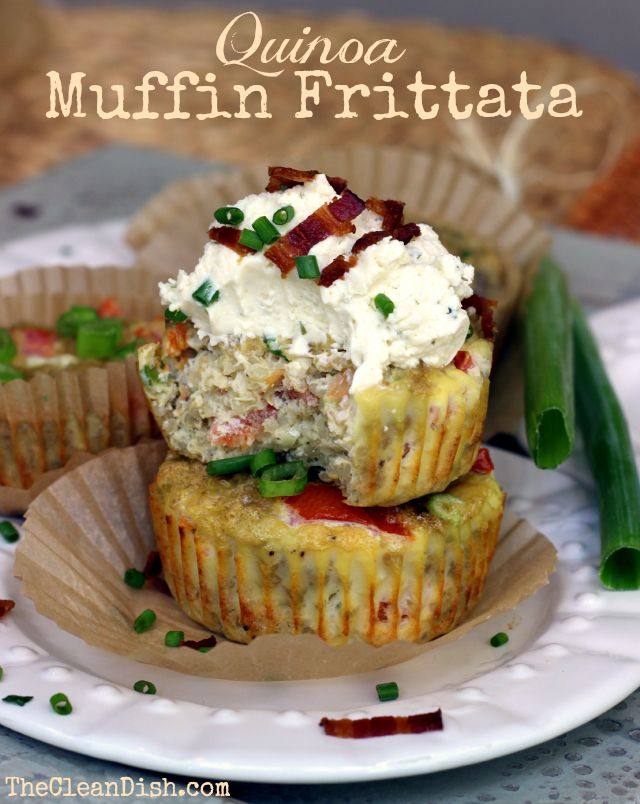 Quinoa muffin frittatas   they look like little savory cupcakes    http://www.thecleandish.com/quinoa-muffin-frittatas/