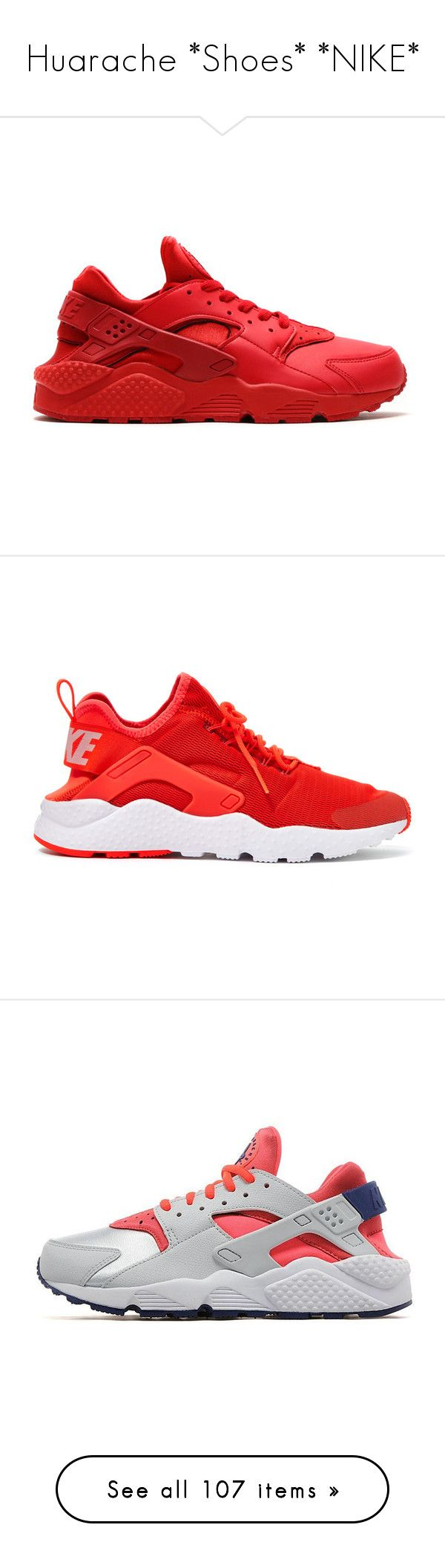 """""""Huarache *Shoes* *NIKE*"""" by queenswag245 ❤ liked on Polyvore featuring shoes, sneakers, nike, navy sneakers, red trainers, navy blue sneakers, red sneakers, huaraches, nike trainers and nike shoes"""