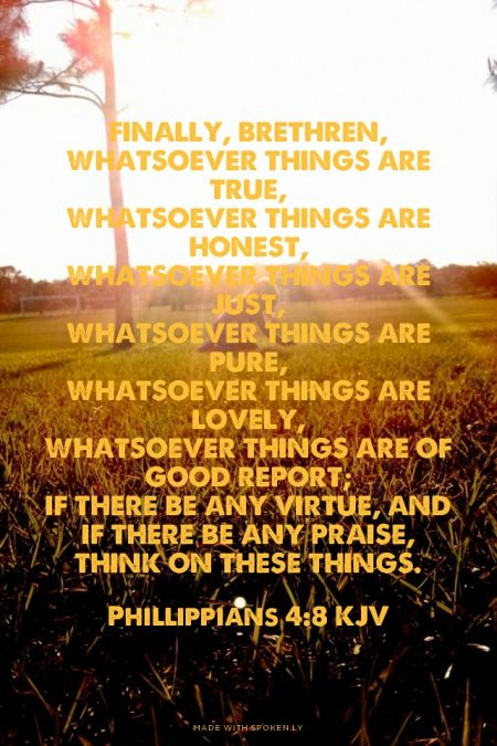 Finally, brethren, whatsoever things are true, whatsoever things are honest, whatsoever things are just, whatsoever things are pure, whatsoever things are lovely, whatsoever things are of good report; if there be any virtue, and if there be any praise, think on these things. - Phillippians 4:8 KJV | Shasta made this with Spoken.ly
