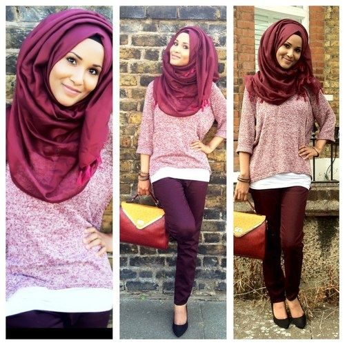 Hijab street fashion in bright burgundy and rose