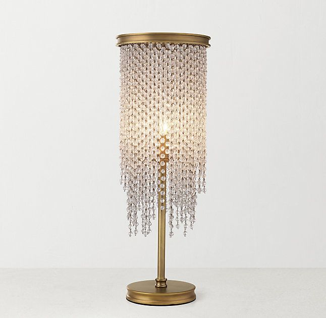 Rh teen athena crystal table lamp antiqued brass 276