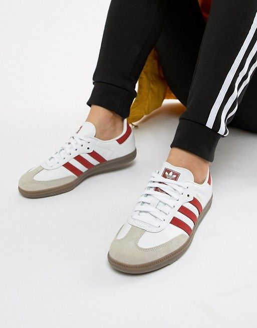 adidas Originals Samba Og Sneakers In White And Red  ccf7efec8