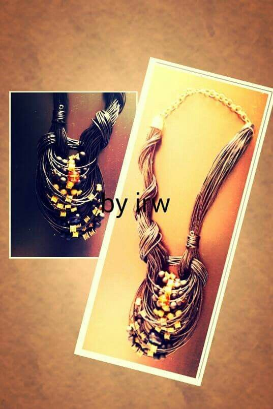 Fb group: Handmade accessories by irw christodoulou  #Necklace #leather #black #beads