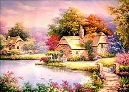★Garden on Lake★ - lovely, seasons, creative pre-made, bridges, beautiful, flowers, trees, architecture, animals, paradise, swans, paintings, love four seasons, gardening, nature, lakes, cabins, spring, stunning, cottages