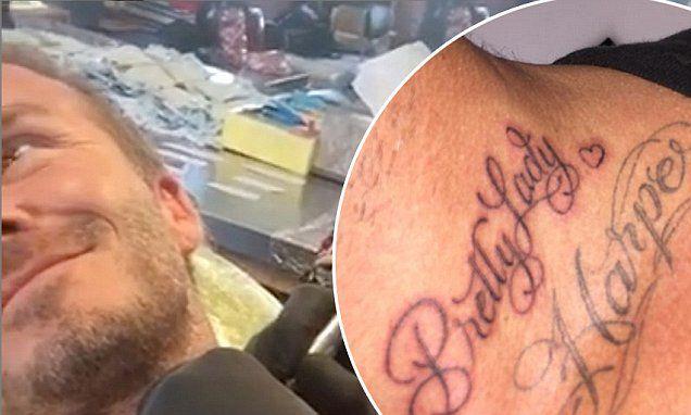 David Beckham unveils brand new neck tattoo for Harper