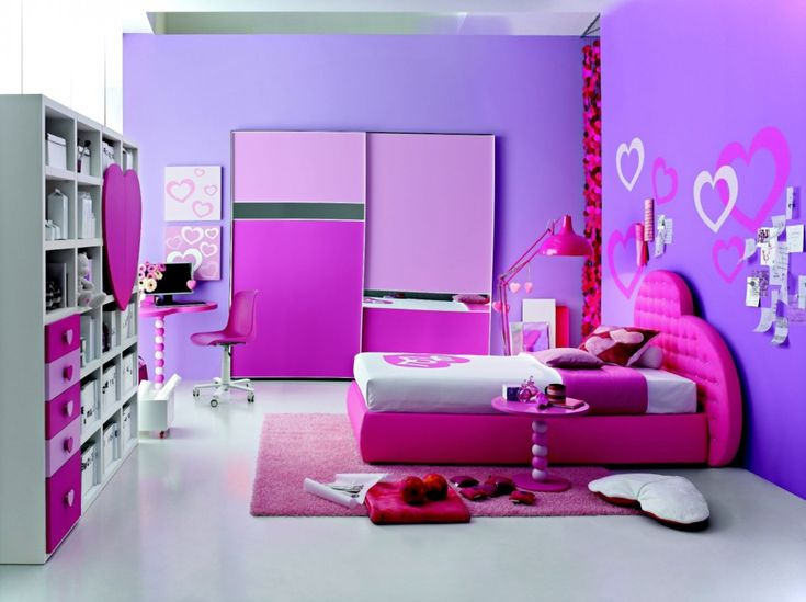 adorable teen girl bedroom idea with white shelf unit and cute pink study desk and white mobile chair also purple closet and lovely bed and sweet pink