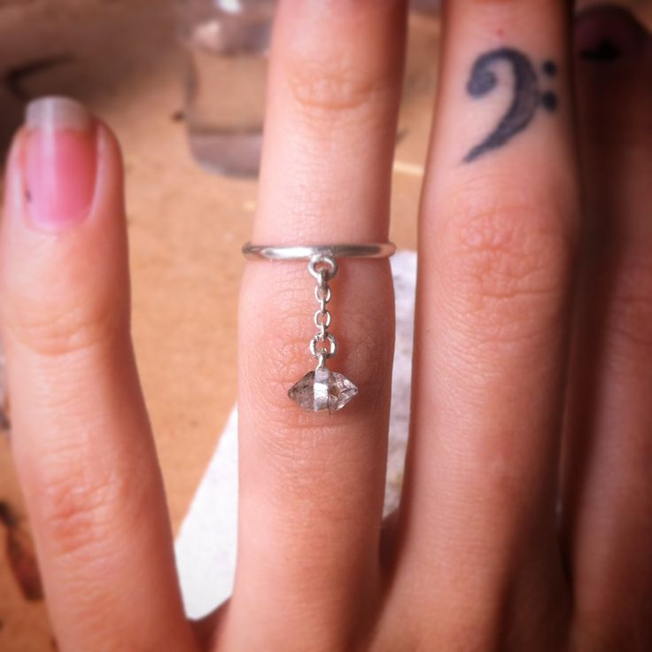 Little sterling silver double terminated clear quartz crystal point chain ring