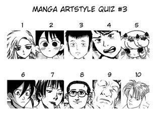 Highlight the following text for Quiz 3 answers:  01. Isutoshi (Tende Freeze!) 02. Karasawa Nawoki (Kasumi Den) 03. Kitoh Mohiro (Bokurano) 04. Kuroda Iou (Extracurricular Lessons) 05. Mizuno Junko (Pure Trance) 06. Nihonbashi Yoko (Shoujo Fight) 07. Samura Hiroaki (Ohikkoshi) 08. Taniguchi Jiro (Walking Man) 09. Urasawa Naoki (20th Century Boys) 10. Yoshida Akimi (Banana Fish)