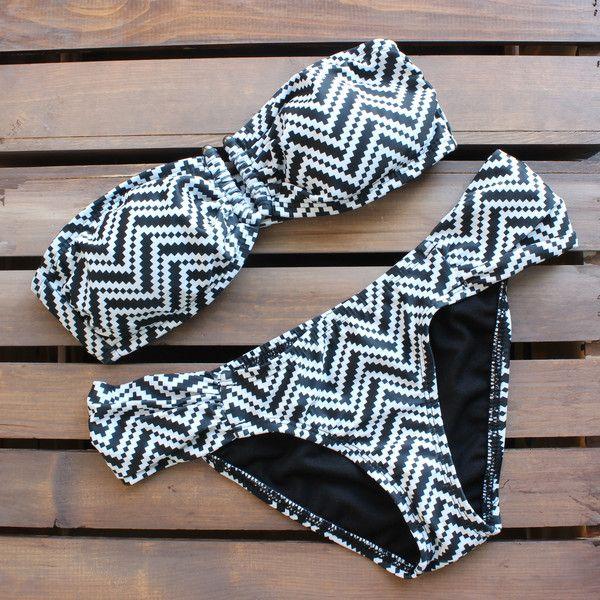 Tribal chevron bikini - black and white