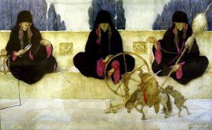 Gustave Adolphe MOSSA (1883 - 1971) - The Fates - Watercolor 1917