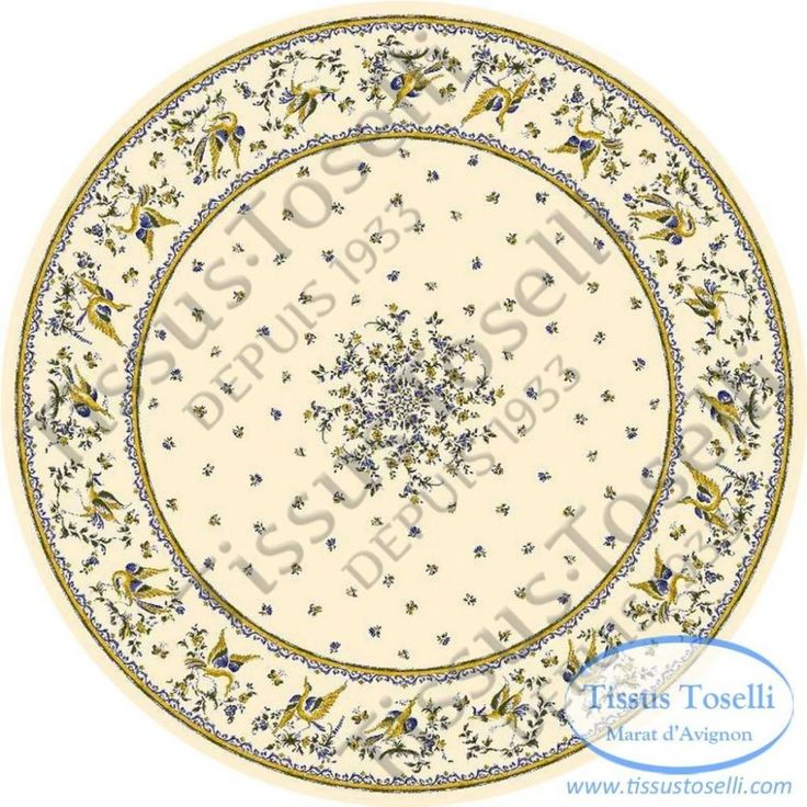 Based On Old French Pottery Designs Blue Birds And Flowers Sit On A Cream  Coloured Background. Round TableclothProvence ...