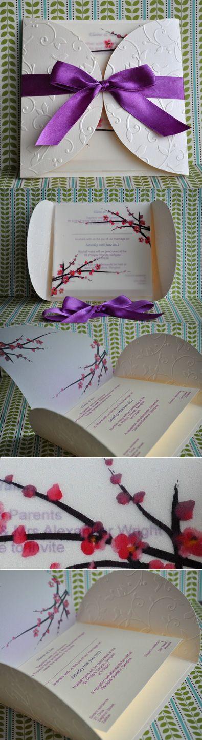 Cherry Blossom Purple Invitation - Handmade by Meda