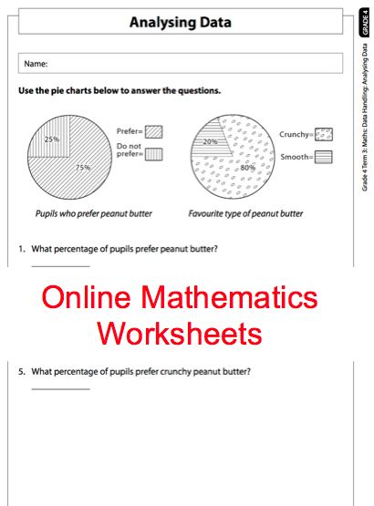 Grade 4 Online Mathematics Worksheet Data handling. For more worksheets visit www.e-classroom.co.za!
