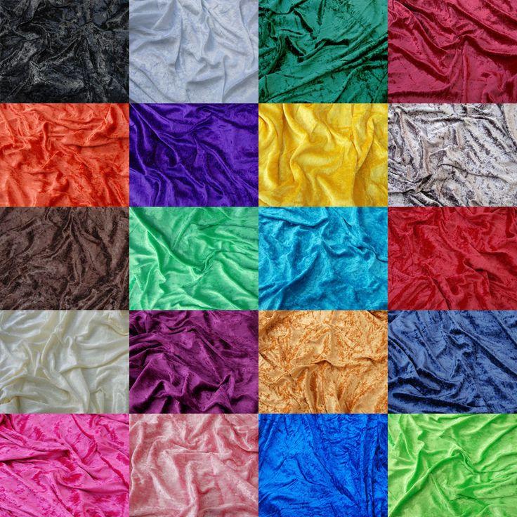 Premium Crushed Velvet Fabric Craft Stretch Velour Material 150cm ...