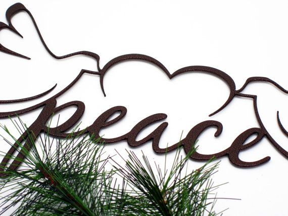Christmas Peace Doves Metal Sign Copper 19x9 Christmas