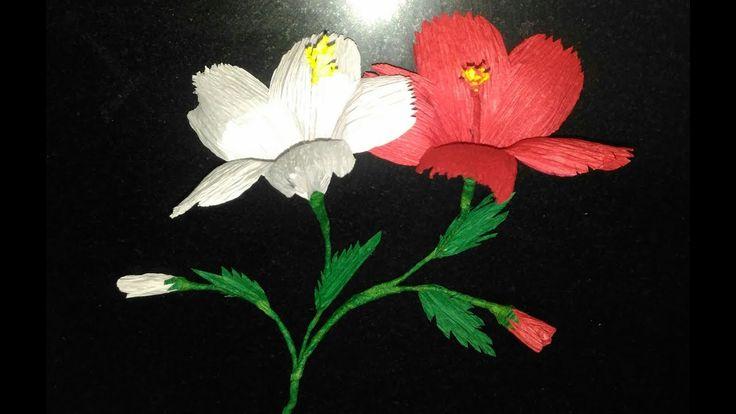 how to make hibiscus flower with crepe paper/ gudhal ka phool
