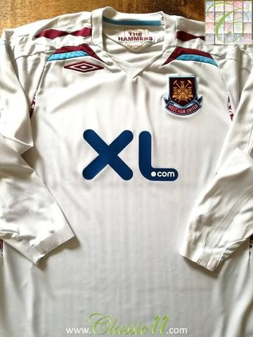 Official Umbro West Ham away long sleeve football shirt from the 2007/2008 season.