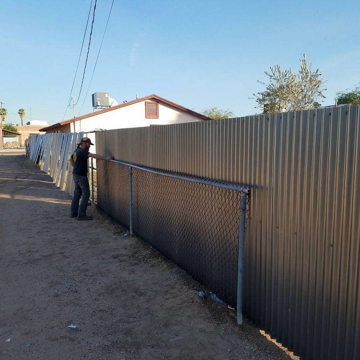 Laying in and #welding 7/8 16ga corrugated steel. 260ish feet to finish and 2 gates. First job that I've employed a hard working friend.  #metalart #metalwork #fsa #phx #fsametalfab #mobilwelding #privacy #steel #rvgate #gate #fsametalfab.com #zendustrial #industrial #fence #steelfence #rust #fullspectrumartworks