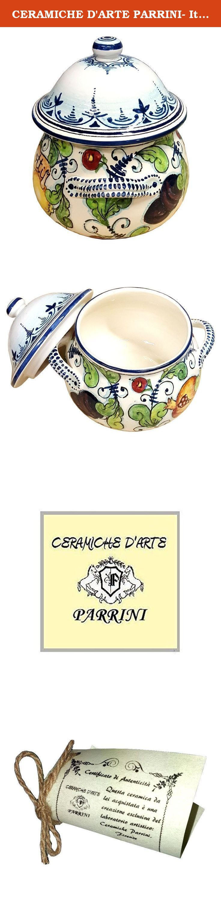 CERAMICHE D'ARTE PARRINI- Italian Ceramic Cookies Jar Biscotti Hand Painted Made in ITALY Tuscan Art Pottery. Ceramic Cookies Jar . Decorations : Branches of lemon , pomegranates, figs, and prunes , on a white ivory frame with blue curls of old. Net weight Kg.0,800, Dimensions: 7.87 inch x 7.87 inch-- By purchasing directly from the manufacturer of Tuscan craft, you can ask if you want, any other customization, or you can buy now so as you see in the picture and you will be sent the day...