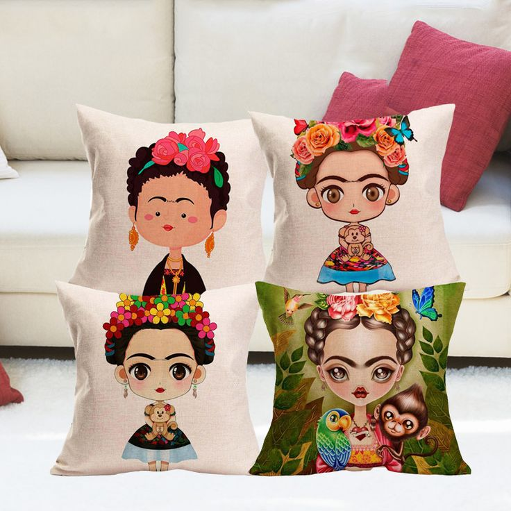 Find More Cushion Cover Information about Cartoon Frida Kahlo Cushion Cover  Pillow Case Firm Throw Pillow Cover Self portrait Sofa Bedroom Home Decorative 43x43cm,High Quality cushion cover,China throw pillow covers Suppliers, Cheap cushion cover pillow case from YIXUAN Textile Store on Aliexpress.com