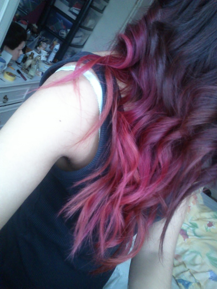 Red Pink Purple Hair :) I used La Riche Directions - Dark Tulip.    I created an ombre hair with this colour