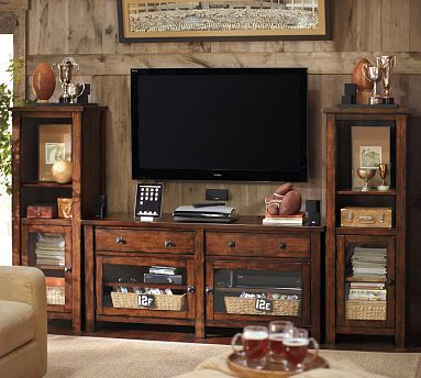Benchwright Large TV Media Suite With Towers Rustic Mahogany Stain