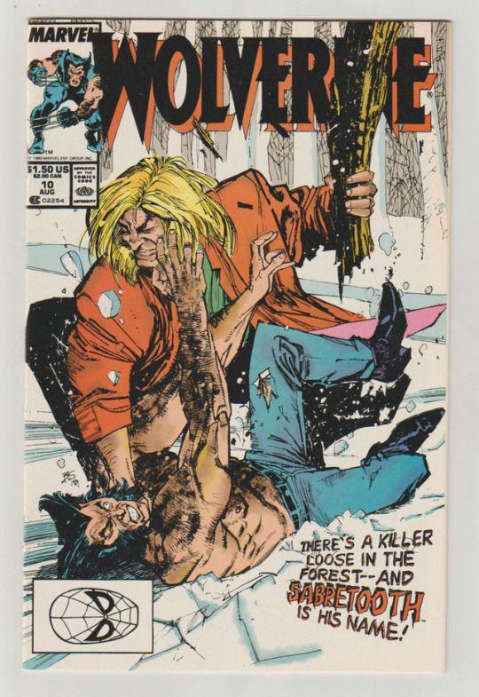 Wolverine; Vol 2, 10, Copper Age Comic Book. NM. August 1989. Marvel Comics. First appearance of Silverfox  #wolverine #sabretooth #silverfox #bill sienkiewicz