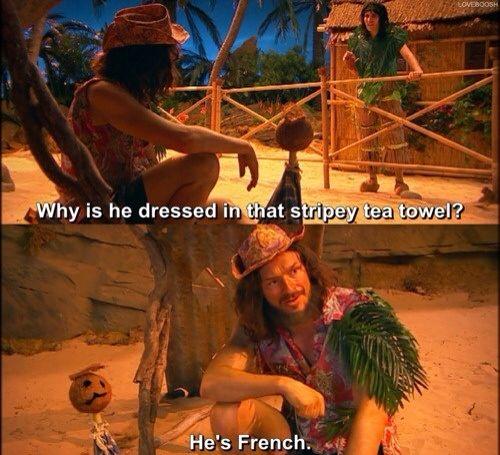 He's French. Gosh!