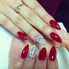Red and silver, stiletto nails :)