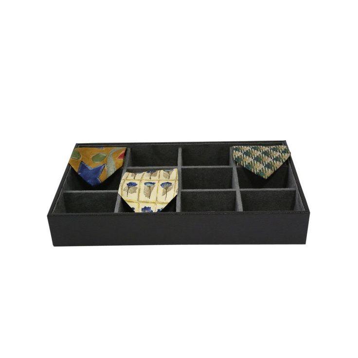 Bey Berk Black Leather 12 Tie Storage Valet 15 15w X 2 25h