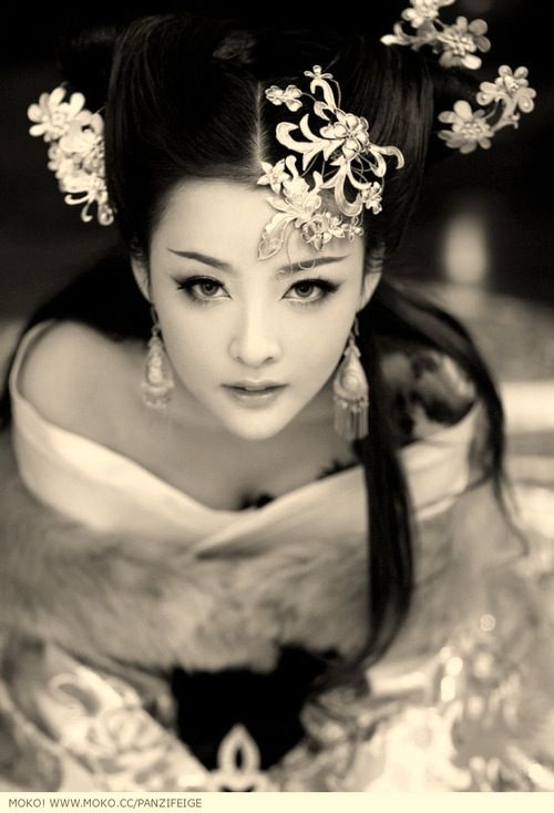 ♀ Black & white Asian beauty Chinese Portrait