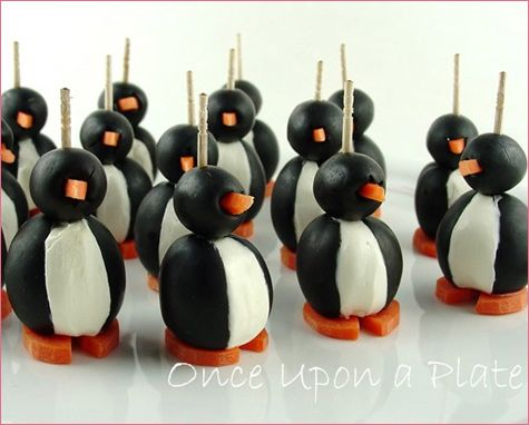 Olive penguins! Cutest appetizer ever! Made these for kids penguin party a