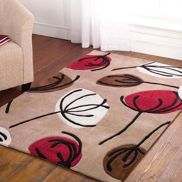Inspire fifties floral rugs in chocolate and red buy online from the rug seller uk