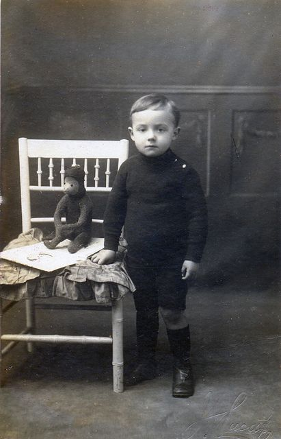+~+~ Antique Photograph ~+~+   Boy and his adorable monkey.