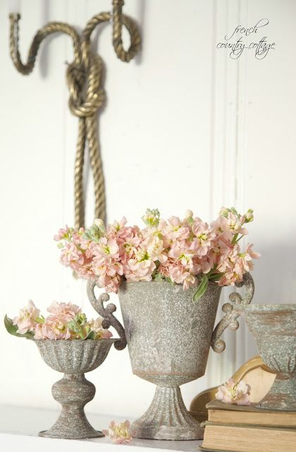 Apricot & gray on the mantel