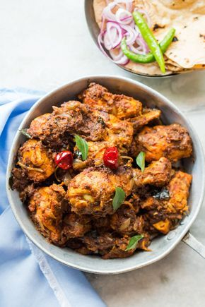 Spicy Chettinad Pepper Chicken Fry or Roast is made with whole ground spices, fragrant, fiery hot and a popular Tamil Chicken recipe.