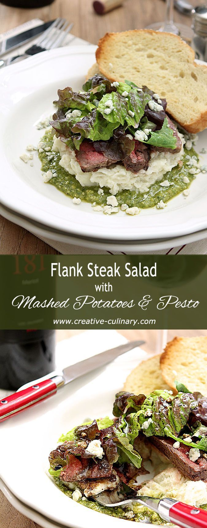 Flank Steak Salad with Mashed Potatoes, Pesto and Gorgonzola Cheese is easy and delicious and makes a fantastic presentation for a special dinner. Or a football game even (that's what I did!). via @creativculinary