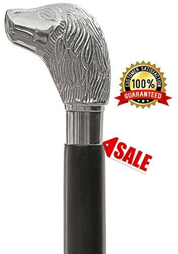 YEAR END STOCK CLEARANCE SALE  Walking Sticks for Men and Women  SouvNear Wood Walking Stick  37 Vintage Look Black Wooden Nickel Plated Cane with Silver Handle  NEW YEAR GIFT * Click image for more details.