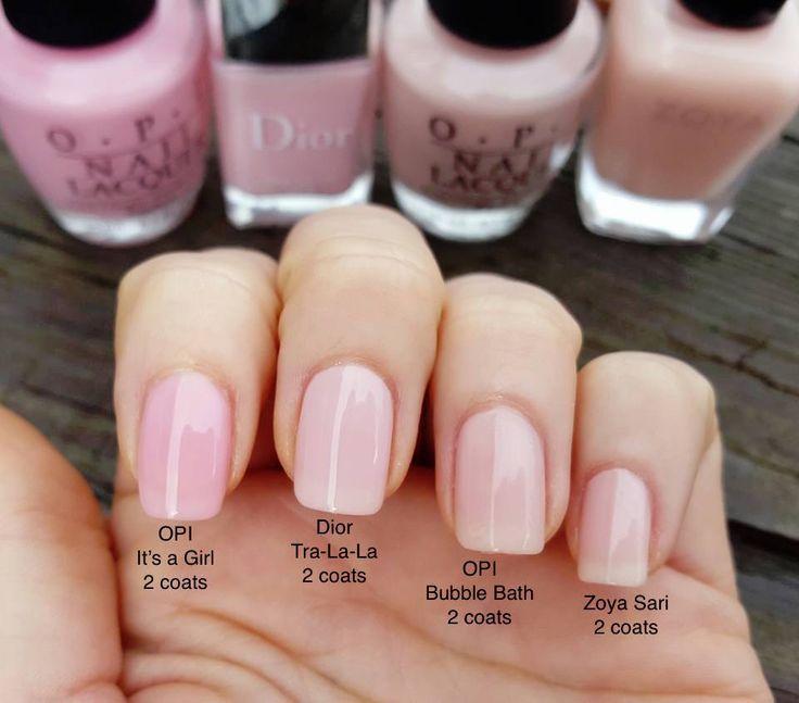 """4 von mir persönlich getestete Optionen mit je 2 Schichten. OPI It's a Girl wurde mit mehreren Mänteln sehr bubblegummy aber immer noch hübsch. Es ist schwer, den Unterschied zwischen Dior Tra-la-la und den letzten beiden bei mir zu erkennen, da das winzige Rosa in Dior Tra-la-la so ziemlich den gleichen Rosa-Farbton aufweist wie das """"pinkfarbene Nagelbett, das sich durch Glanz auszeichnet"""". mit OPI Schaumbad und Zoya Sari. Dieser Unterschied ist in der Person sichtbarer. OPI Schaumbad & Zoya Sari sehen sich sehr ähnlich. Alles hübsch – Nägel"""