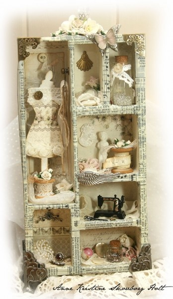 little paper-covered collage box with various miniatures and shabby chic treasures -